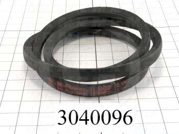 "V-Belts, B V-Belt Type, B62 Trade Size, 65"" Outside Length"