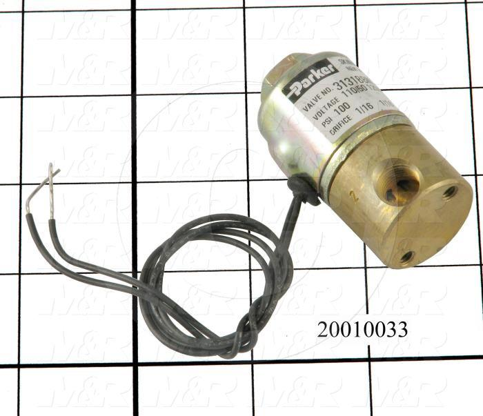 "Valves, Electro Mechanical Type, 2 Position / 3 Way Operation, Single Coil, 120/110 VAC Coil Voltage, 1/8"" NPT Port"