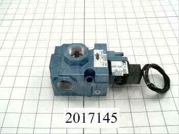 "Valves, Electro Mechanical Type, 2 Position / 3 Way Operation, Single Coil, 120/110 VAC Coil Voltage, 3/4"" NPT Port, Inline, 160 Psi Max. Pressure, 5.7 CCV, Challenger Function"