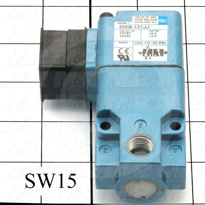 "Valves, Electro Mechanical Type, 2 Position / 3 Way Operation, Single Coil, 220 VAC Coil Voltage, 1/4"" NPT Port, 150 Psi Max. Pressure, .50 CCV, For Blanket Frame Vacuum Pumps Function"