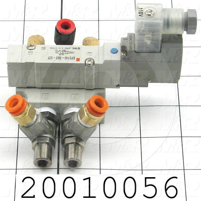 """Valves, Electro Mechanical Type, 2 Position / 3 Way Operation, Single Coil, 220 VAC Coil Voltage, 1/4"""" NPT Port, With Built-in Fittings"""