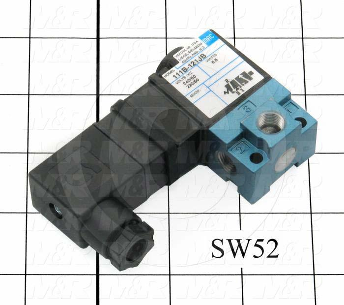 "Valves, Electro Mechanical Type, 2 Position / 3 Way Operation, Single Coil, 220 VAC Coil Voltage, 1/8"" NPT Port, 150 Psi Max. Pressure, .18 CCV, For Blanket Frame Cylinder Latches Function"