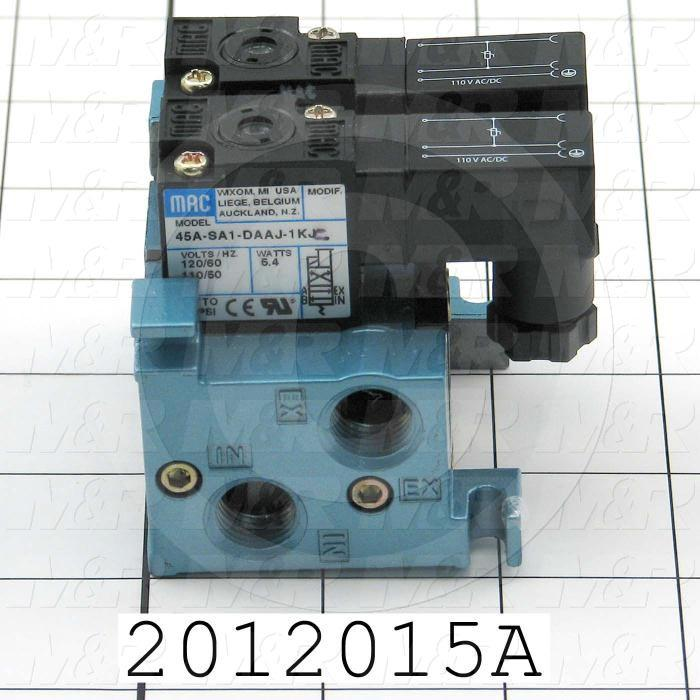 """Valves, Electro Mechanical Type, 2 Position / 4 Way Operation, Single Coil, 120/110 VAC Coil Voltage, 1/8"""" NPT Port, 2 Stations, 160 Psi Max. Pressure, .15 CCV"""