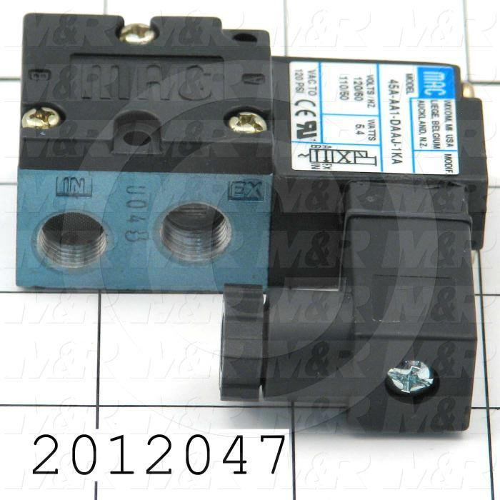 """Valves, Electro Mechanical Type, 2 Position / 4 Way Operation, Single Coil, 120/110 VAC Coil Voltage, 1/8"""" NPT Port, Inline, 120 Psi Max. Pressure, .15 CCV"""