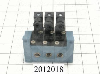 Valves, Electro Mechanical Type, 2 Position / 4 Way Operation, Single Coil, 120/110 VAC Coil Voltage, 3 Stations, 160 Psi Max. Pressure, Squeegee Function