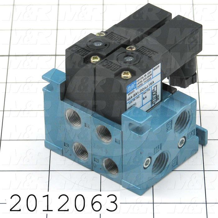 """Valves, Electro Mechanical Type, 2 Position / 4 Way Operation, Single Coil, 24 VDC Coil Voltage, 1/8"""" NPT Port, 2 Stations, .20 CCV"""