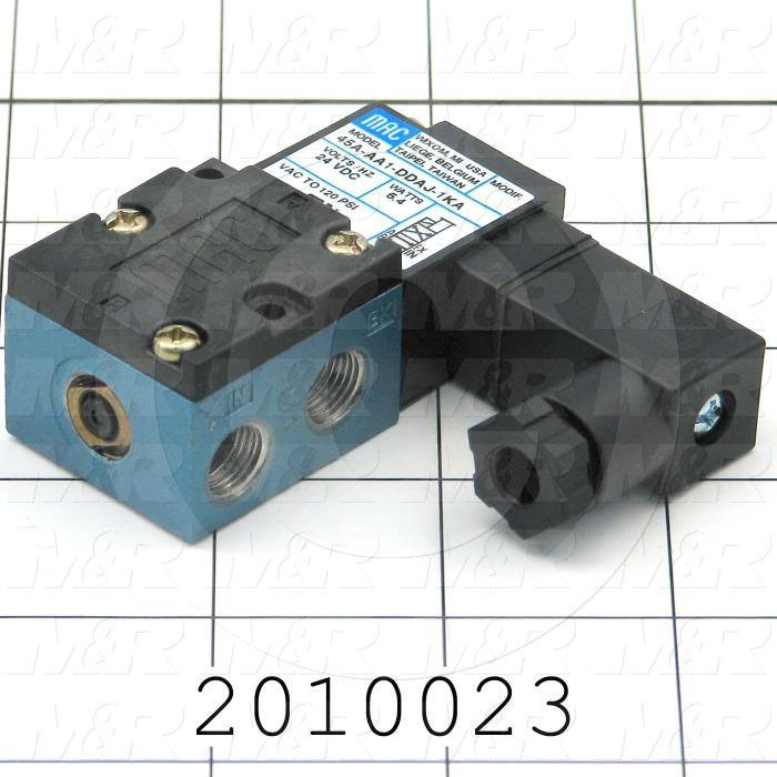 "Valves, Electro Mechanical Type, 2 Position / 4 Way Operation, Single Coil, 24 VDC Coil Voltage, 1/8"" NPT Port, Inline, 160 Psi Max. Pressure, .15 CCV"