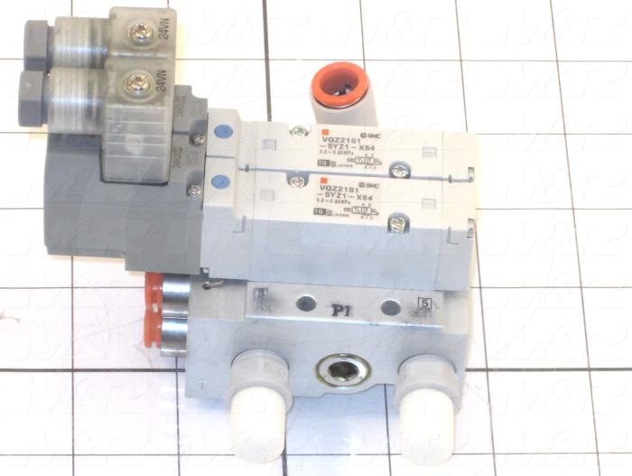 Valves, Electro Mechanical Type, 2 Position / 5 Way Operation, Single Coil, 24 VDC Coil Voltage, 2 Stations, Viton Seal, With Built-in Fittings, 0.7 MPa Max. Pressure