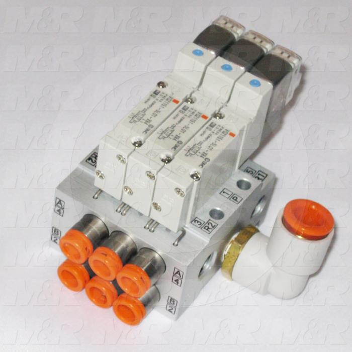 Valves, Electro Mechanical Type, 2 Position / 5 Way Operation, Single Coil, 24 VDC Coil Voltage, 3 Stations, Viton Seal, 0.7 MPa Max. Pressure