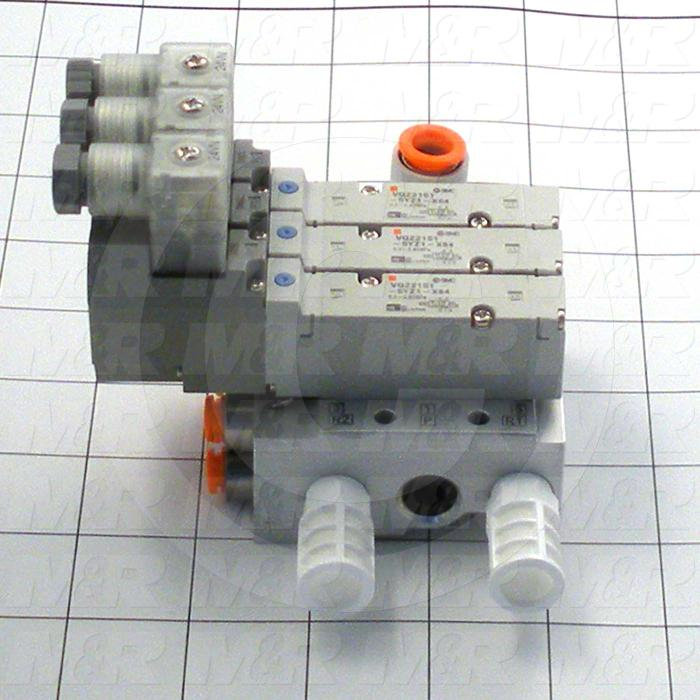 Valves, Electro Mechanical Type, 2 Position / 5 Way Operation, Single Coil, 24 VDC Coil Voltage, 3 Stations, Viton Seal, With Built-in Fittings, 0.7 MPa Max. Pressure