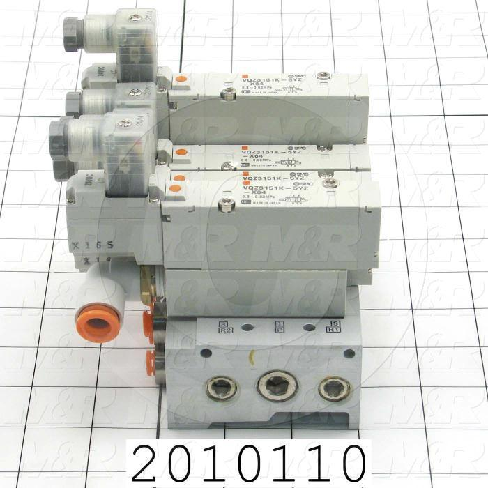 Valves, Electro Mechanical Type, 2 Position / 5 Way Operation, Single Coil, 24 VDC Coil Voltage, 5 Stations, Viton Seal, With Built-in Fittings, 0.7 MPa Max. Pressure