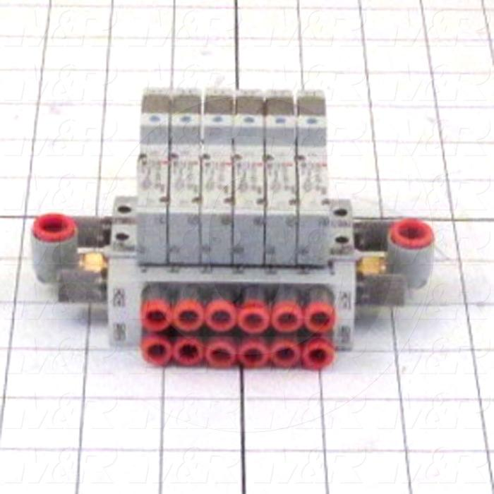 Valves, Electro Mechanical Type, 2 Position / 5 Way Operation, Single Coil, 24 VDC Coil Voltage, 6 Stations, Viton Seal, 0.7 MPa Max. Pressure