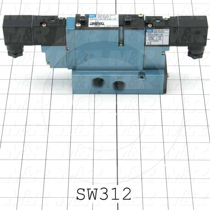 """Valves, Electro Mechanical Type, 3 Position / 4 Way Center Open Operation, Double Coil, 220 VAC Coil Voltage, 3/8"""" NPTF Port, Side Ports, Helios Function"""