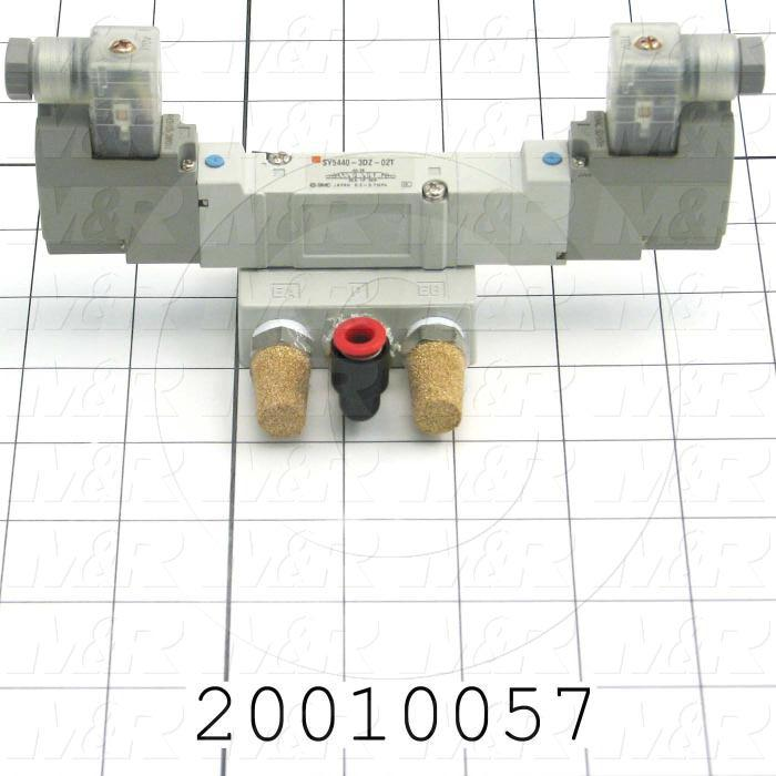 "Valves, Electro Mechanical Type, 3 Position / 5 Way Operation, Double Coil, 120/110 VAC Coil Voltage, 1/4"" NPT Port, With Built-in Fittings"