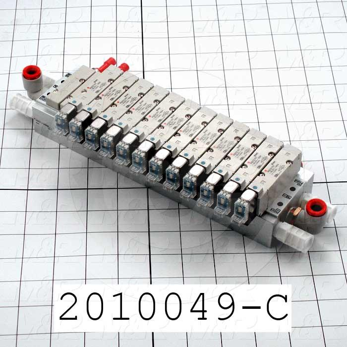 Valves, Electro Mechanical Type, 3 Position / 5 Way Operation, Double Coil, 24 VDC Coil Voltage, 12 Stations, Viton Seal, 0.7 MPa Max. Pressure