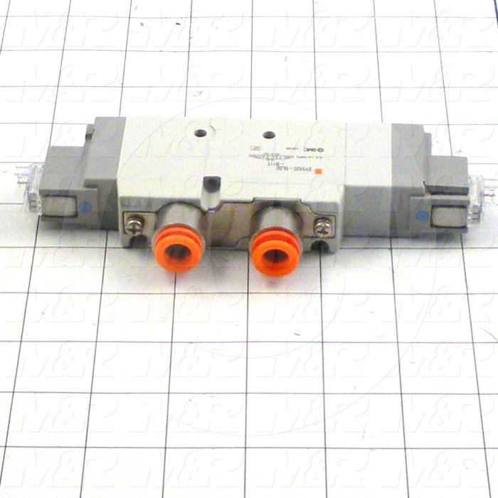 """Valves, Electro Mechanical Type, 3 Position / 5 Way Operation, Double Coil, 24 VDC Coil Voltage, 3/8"""" NPT Port, Viton Seal, 0.7 MPa Max. Pressure"""