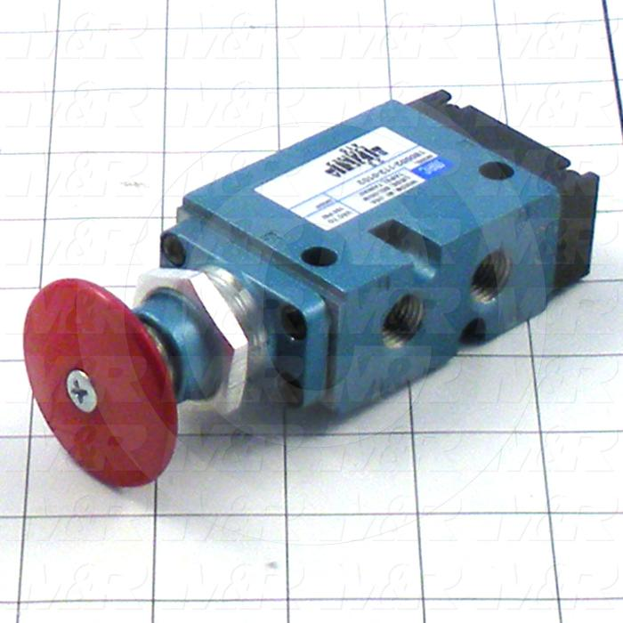 "Valves Mechanical / Hand, Manual Valve Type, 1/4"" NPT Port In, 1/4"" NPT Port Out, 4 Way Operation, Push/Pull Panel Mount With Red Palm Button Valve"