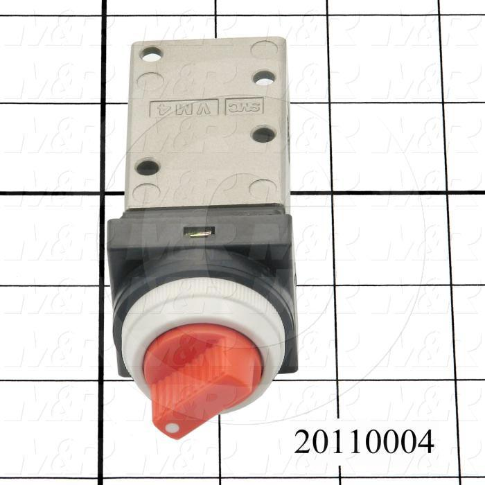 "Valves Mechanical / Hand, Manual Valve Type, 1/8"" NPT Port In, 1/8"" NPT Port Out, 1/8"" NPT Exhaust, 2 Position Operation"