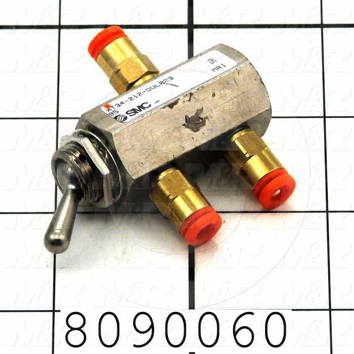 Valves Mechanical / Hand, Manual Valve Type, 2 Position 3 Way Operation, 2018011 with Fitting Male Straight IN and 2 Fittings Male Straight OUT