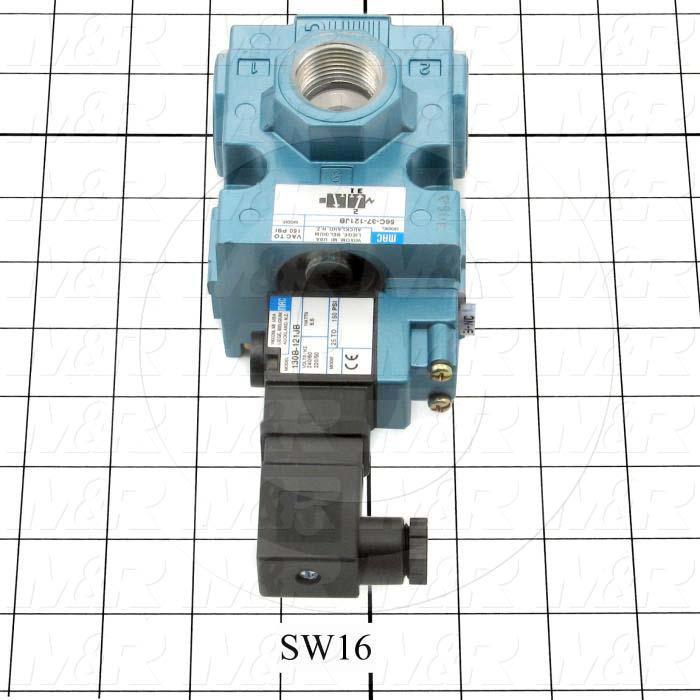 "Valves, Solenoid Valve Type, 3 Way Operation, Single Coil, 220 VAC Coil Voltage, 3/4"" NPT Port, 150 Psi Max. Pressure, 5.7 CCV, For Blanket Frame Vacuum Pumps Function"
