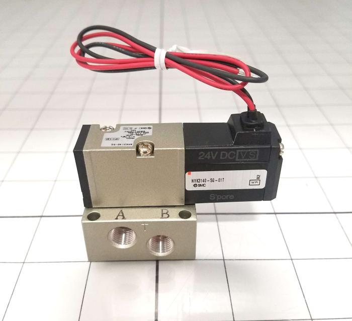 Valves, Solenoid Valve Type, 5 Port Operation, 24 VDC Coil Voltage, 1/8 NPTF Port, Base Mounted