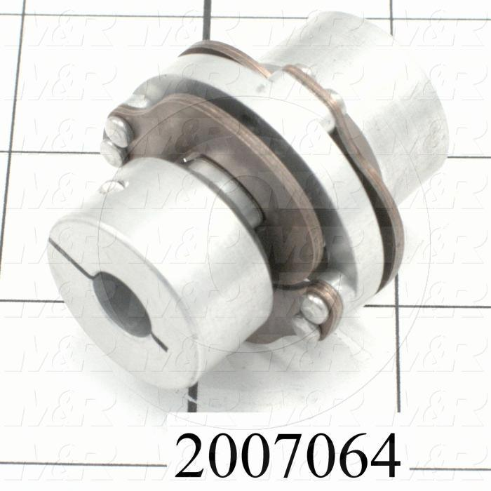 "Wafer Spring Type Coupling, Hub # 1 Bore 3/8"", Hub # 1 Outer Diameter 1.00"", Hub # 2 Bore 3/8"", Hub # 2  Outer Diameter 1.00"", Overall Length 1.81"", Outside Diameter 1.50 in."