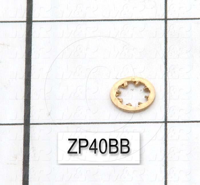 "Washers and Shims, Brass, Internal Tooth Washer Type, #8 Screw Size, Inside Diameter 0.176"", Outside Diameter 0.328"", Plain"