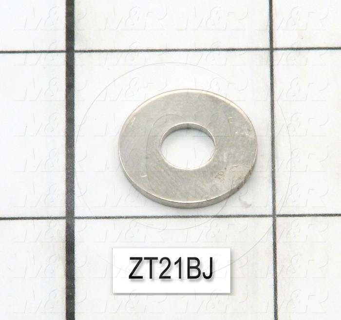 "Washers and Shims, Bronze, Flat Washer Type, 1/4 in. Screw Size, Inside Diameter 0.267"", Outside Diameter 0.687"", 0.053"" Thickness, Nickel"