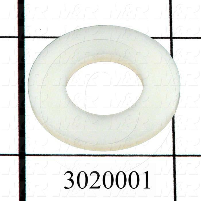 "Washers and Shims, Nylon, Flat Washer Type, 1/2 in. Screw Size, Inside Diameter 0.518"", Outside Diameter 1.00"", 0.08"" Thickness, Plain"