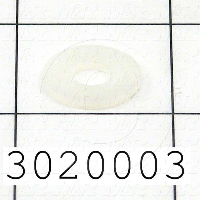 "Washers and Shims, Nylon, Flat Washer Type, 1/4 in. Screw Size, Inside Diameter 0.256"", Outside Diameter 0.500"", 0.062"" Thickness, Plain"