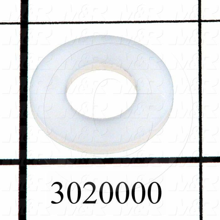 "Washers and Shims, Nylon, Flat Washer Type, 3/8 in. Screw Size, Inside Diameter 0.38 in., Outside Diameter 0.625"", 0.062"" Thickness, Plain"