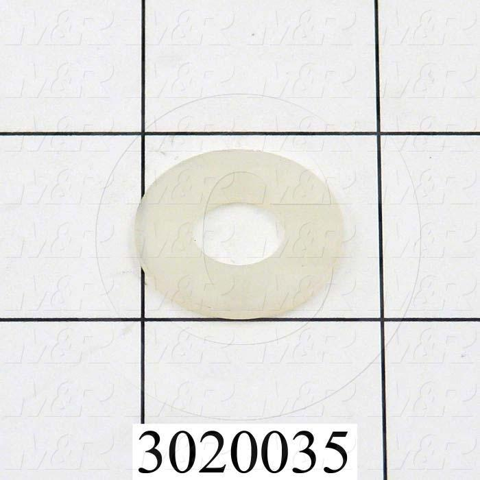"Washers and Shims, Nylon, Flat Washer Type, 5/16"" Screw Size, Inside Diameter 0.317"", Outside Diameter 0.500"", 0.062"" Thickness, Plain"