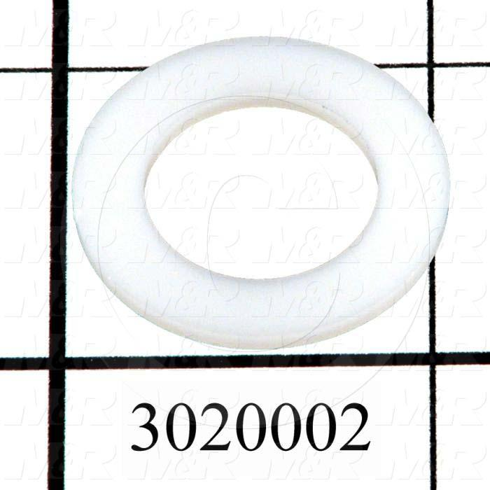 "Washers and Shims, Nylon, Flat Washer Type, 5/8 in. Screw Size, Inside Diameter 0.625 in., Outside Diameter 1.00"", 0.062"" Thickness, Plain"