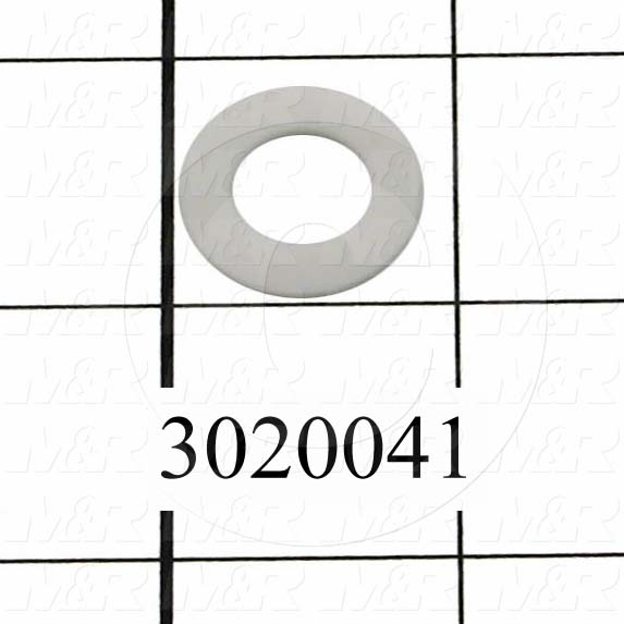 "Washers and Shims, PTFE, Flat Washer Type, 5/8 in. Screw Size, Inside Diameter 0.75 in., Outside Diameter 1.25 in., 0.067"" Thickness"