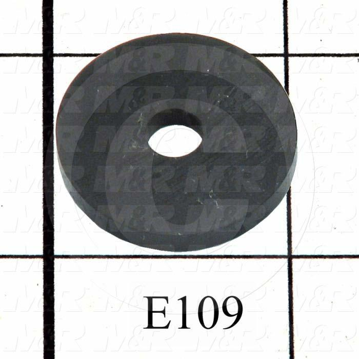 "Washers and Shims, Rubber, Flat Washer Type, 1/4 in. Screw Size, Inside Diameter 0.25 in., Outside Diameter 1 in., 0.125"" Thickness"