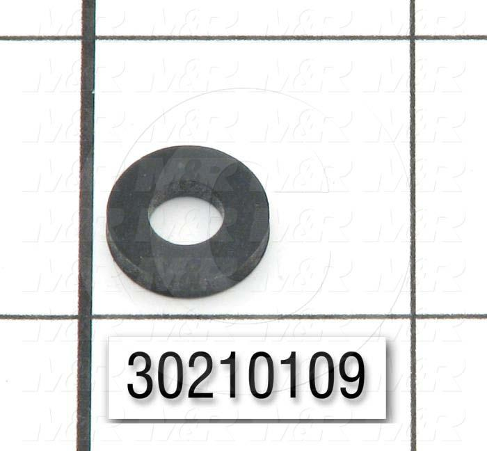 "Washers and Shims, Rubber, Round Hole Washer Type, 1/4 in. Screw Size, Inside Diameter 0.230"", Outside Diameter 0.500"", 0.093"" Thickness, Black"