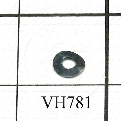 "Washers and Shims, Spring-Tempered Steel, Wave Washer Type, #6 Screw Size, Inside Diameter 0.143"", Outside Diameter 0.38 in., 0.007"" Thickness, Black Oxide"