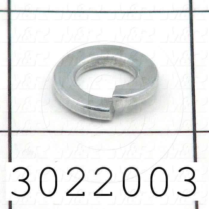 "Washers and Shims, Steel, Split Lock Washer Type, 5/16"" Screw Size, Inside Diameter 0.313"", Outside Diameter 0.583"", 0.078"" Thickness, Zinc"