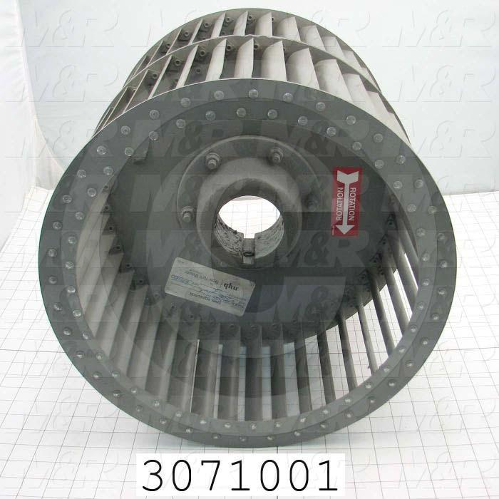 "Wheel, Wheel Diameter 15"", Inlet Double, Bore Size 2.94"", Temperature Rating 500F, Max. Air flow 8000CFM, Max. RPM 1650"