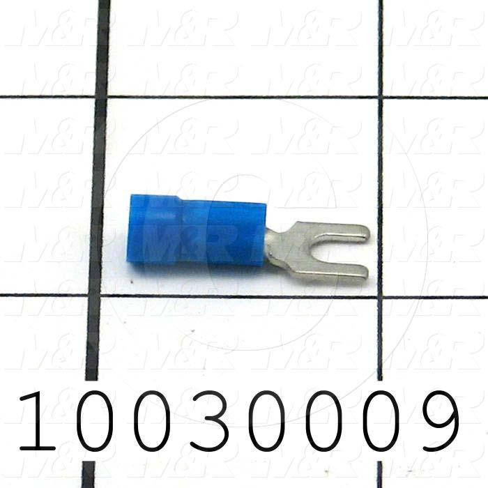 Wire Terminal, Fork, Blue, Wire Range 16-14AWG, #6 Stud Size