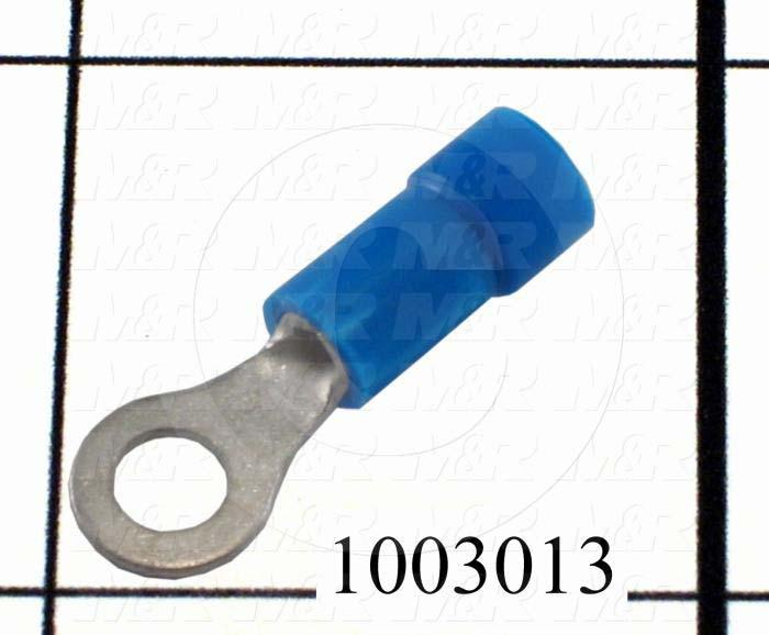 Wire Terminal, Ring, Blue, Wire Range 16-14AWG, #8 Stud Size