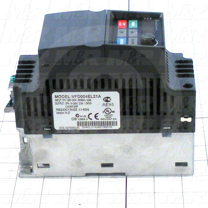 AC Drive, No PLC, VFD-E Series, 0.37KW (1/2HP), 208-230VAC, 1 Phase, 230VAC Output, 3 Phase